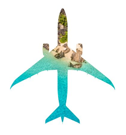 Travel concept of airplane silhouette with tropical beach. Beach holiday and airplane transportation conceptual image Фото со стока
