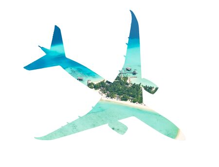 Travel concept of airplane silhouette with tropical beach. Beach holiday and airplane transportation conceptual image Stockfoto