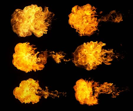 Fire blasts collection, isolated on black background Stock Photo