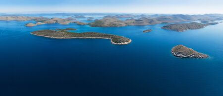 Aerial panoramic view of Kornati national park, Croatia