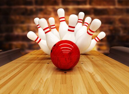 Bowling-Streik-Hit, Erfolgskonzept und Gewinn.