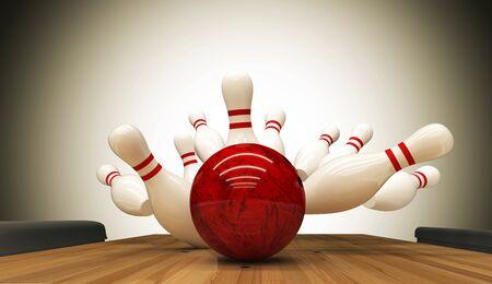 Bowling staking hit, concept van succes en win. Stockfoto