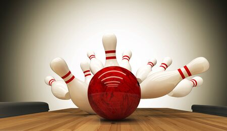 Bowling-Streik-Hit, Erfolgskonzept und Gewinn. Standard-Bild