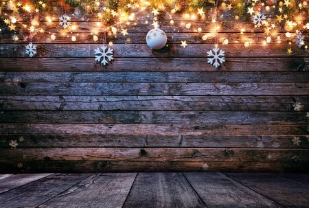 Decorative Christmas rustic background with wooden planks. Free space for text.