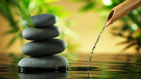 A stream of water flowing out of bamboo tube, spa and wellness concept. Stock Photo