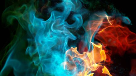 Abstract coloured mix flames isolated on black background. Realistic chemical fire blasts.