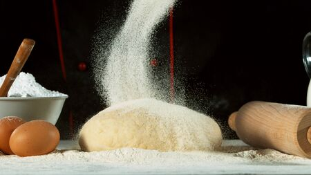 Freeze motion of pouring flour on yeast dough. Food preparation concept, ingredients around 写真素材