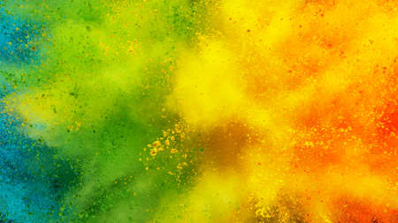 Abstract coloured powder explosion background, various colours