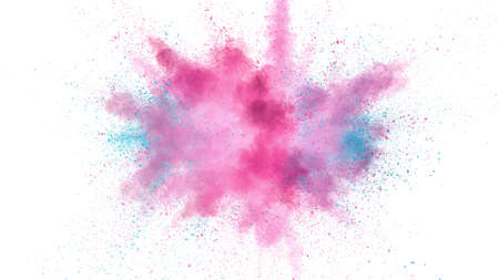 Explosion of colored powder isolated on white background