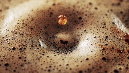 Milk being pour into coffee drink. Mixing texture beverages background