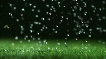 Freeze motion of rain drops falling on grass texture, studio shot, artificial lawn.