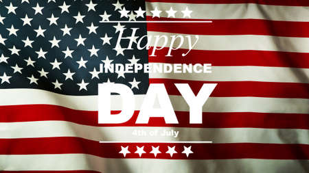 USA Independence Day concept with waving flag. This celebration takes on 4th of July.