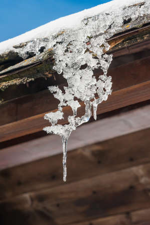 sopel lodu: Icicle on a roof