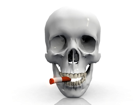 a skull  smoking a cigarette photo
