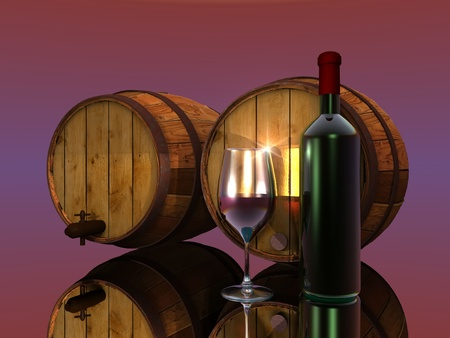 wine, barrels, glass and bottle Stock Photo - 10711075