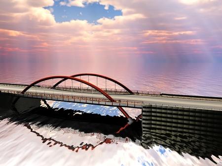 bridge over water: bridge over water in the morning Stock Photo