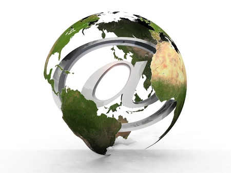 Earth  transparently with the abbreviation at sign Stock Photo