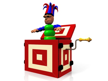 he puppet in a cube crank Stock Photo - 10710756