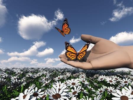 metamorfosis: la hermosa mariposa en la mano Foto de archivo