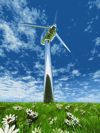 one wind turbane in grass and flowers photo