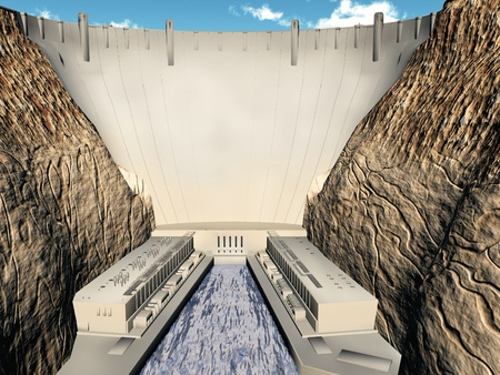hydropower: a hydroelectric dam and power station