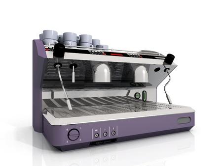 een industrieel koffiezetapparaat en een kopje