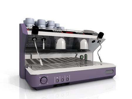 machine: one industrial coffee machine and cup