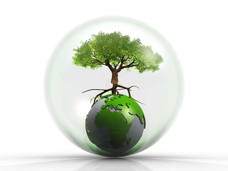 reflection of life: tree on the earth in a bubble