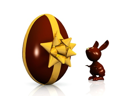 savour: a chocolate rabbit and egg Stock Photo