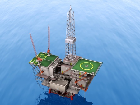 oil platform lost the blue sea Stock Photo - 10711086
