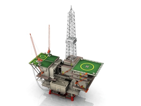 the oil platform on white background Stock Photo - 10711055