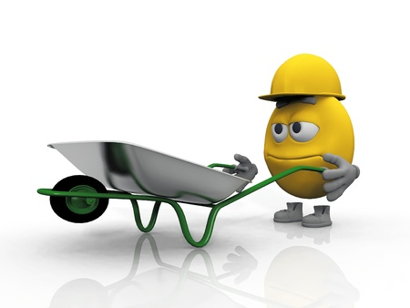 chap: smiley  worker with a wheelbarrow