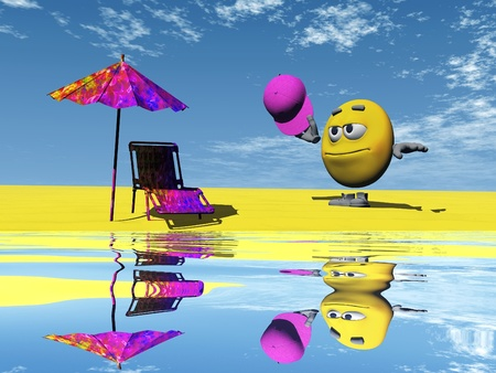 chap: smiley  on the beach and water