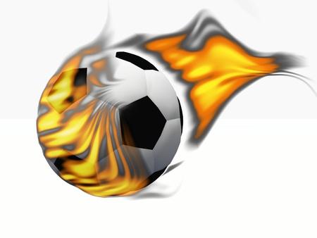 a soccer ball sets fire