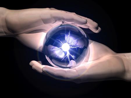 esoterismo: bola de clarividencia en las manos Foto de archivo