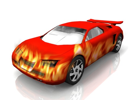 test car with red flames photo