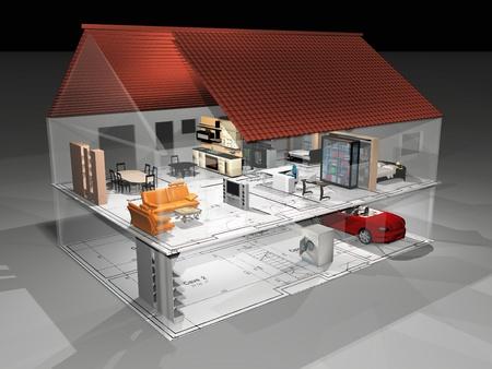 planos arquitecto: la casa transperant muy hermosa Foto de archivo