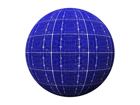 ball of blue photovoltaic  cells photo
