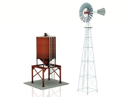 purification: windmill  and water tank on a white background Stock Photo