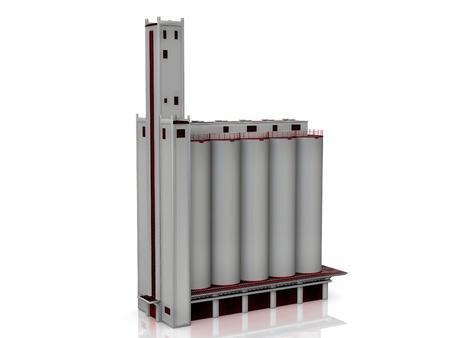 grain silos on a white background Stock Photo - 10760335