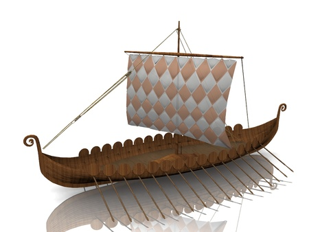 warship: The  Viking warship on white background