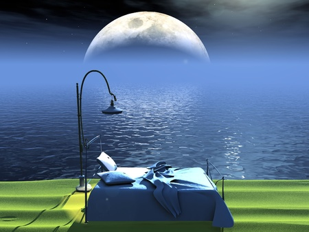 romance bed: bed  by the sea and moon
