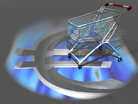 the shopping cart and the euro  symbol photo