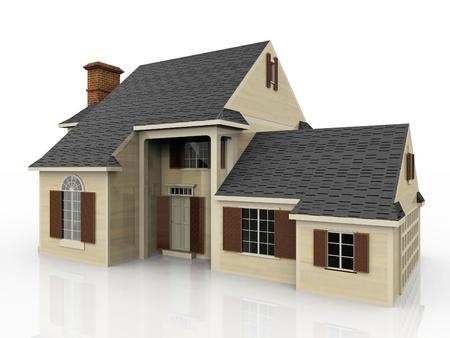 het mooie huis op een witte achtergrond Stockfoto