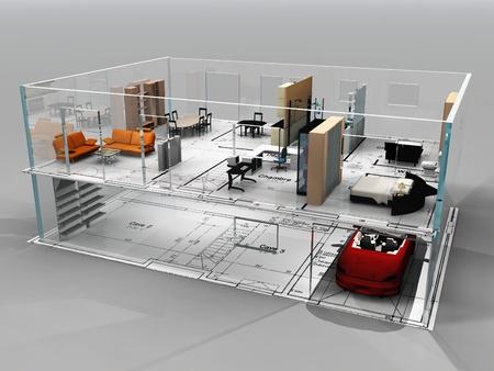 planos arquitecto: la hermosa casa sobre un fondo gris