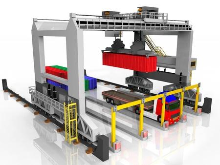 export and import: Contenedor y la estaci�n de carga de camiones