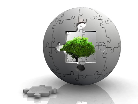 green tree in a puzzle bubble photo