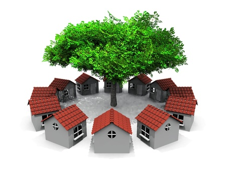 accommodate: small houses in circles and tree