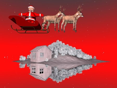 Santa Claus on his sleigh photo