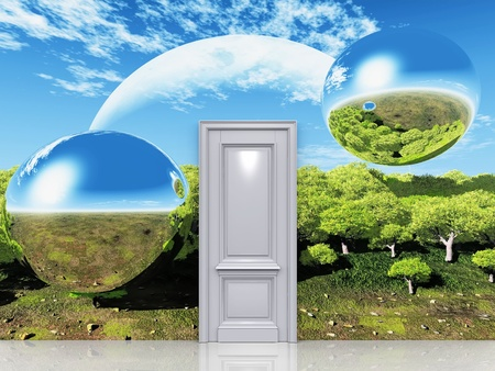 the door to a magical landscape Stock Photo - 10760838